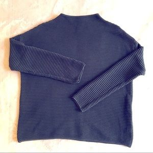 Navy blue ribbed pullover with envelope neck